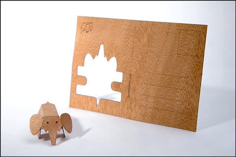 An image of a(n) Elephant - Wooden Postcard.