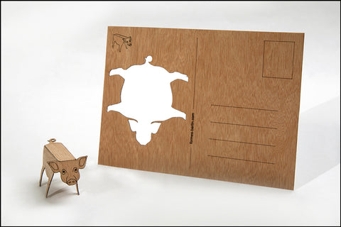 An image of a(n) Pig - Wooden Postcard.