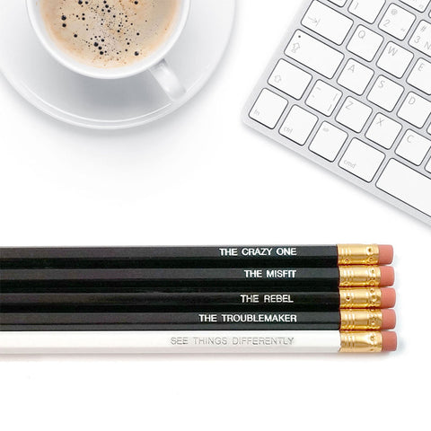 An image of inspirational pencils on a desk.