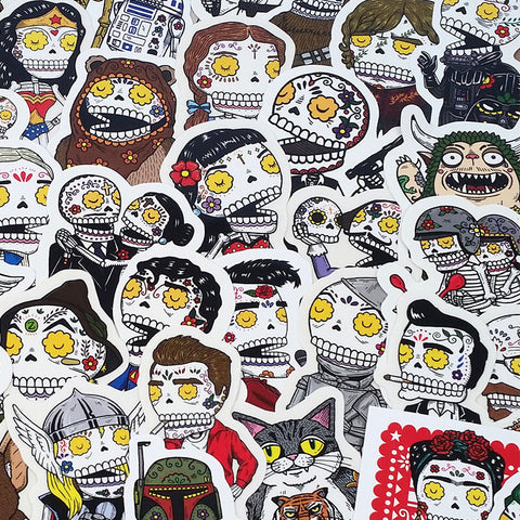 An image of numerous Day of the Dead Stickers.