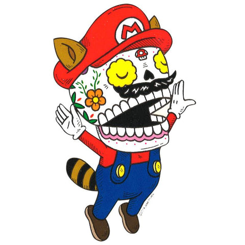 Mario Raccoon - Day of the Dead Stickers