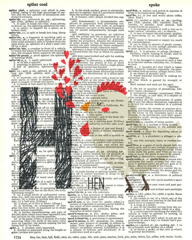 Dictionary Art Print Printed On Authentic Vintage Dictionary Book Page - 8 x 10.5 - Alphabet Letter H