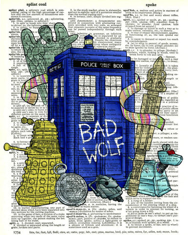 Dr Who Grafitti Tardis - Dictionary Art Print