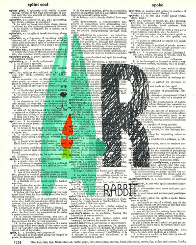 Dictionary Art Print Printed On Authentic Vintage Dictionary Book Page - 8 x 10.5 - Alphabet Letter R