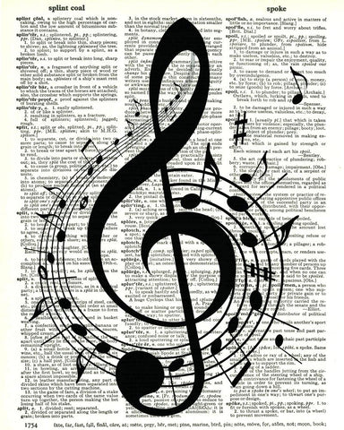 Musical Notes - Dictionary Art Print