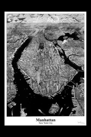 Manhattan, New York City Skyline Map Poster -Krikko Obbott Perspective Pencil Drawing Artist