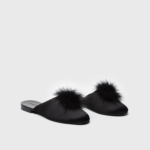 Satin Puff Mule - Black