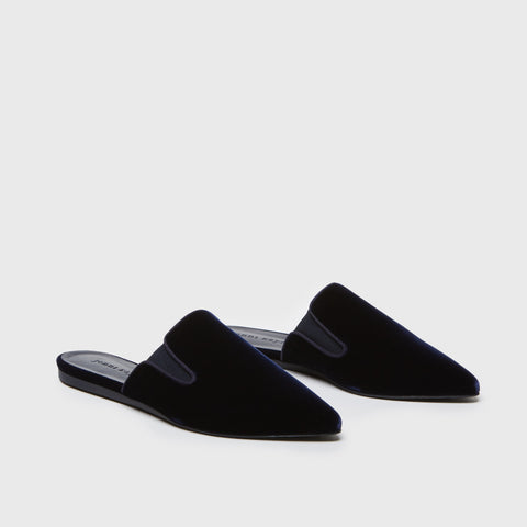 Mule Slide - Dark Navy Velvet