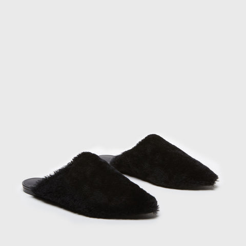 Mule Slide - Black Shearling