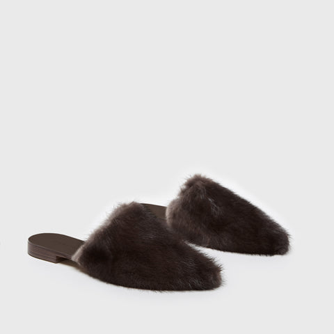 Mule Slide - Dark Brown Fur