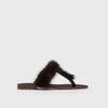 T-Strap Sandal - Dark Brown Fur