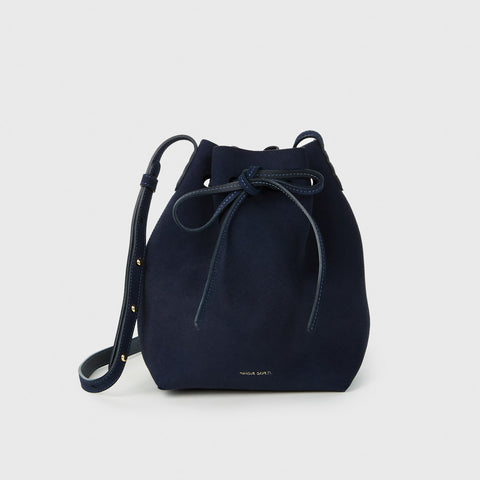 Suede Mini Bucket Bag - Blue
