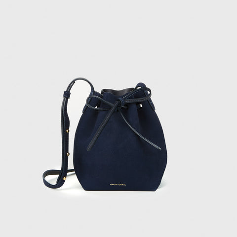Suede Mini Mini Bucket Bag - Blue