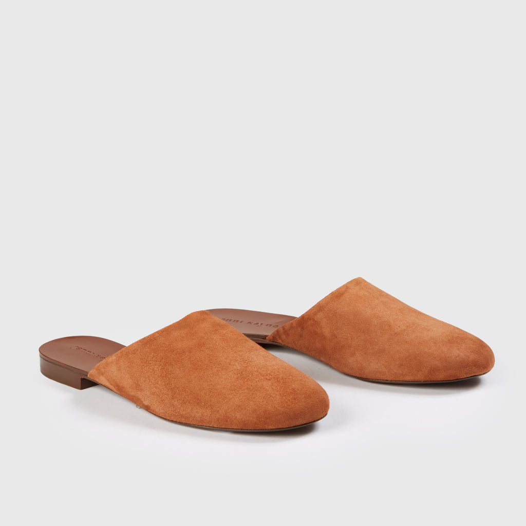 Rounded Mule Slide - Saddle Suede
