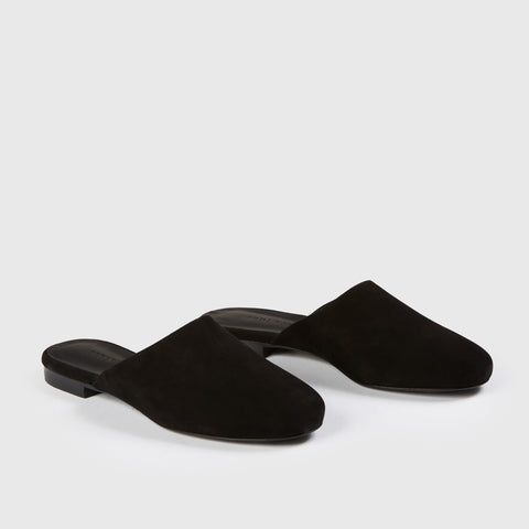 Rounded Mule Slide - Black Suede