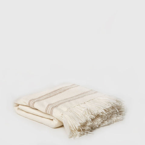 Alpaca Stripe Throw - Ivory/Oatmeal