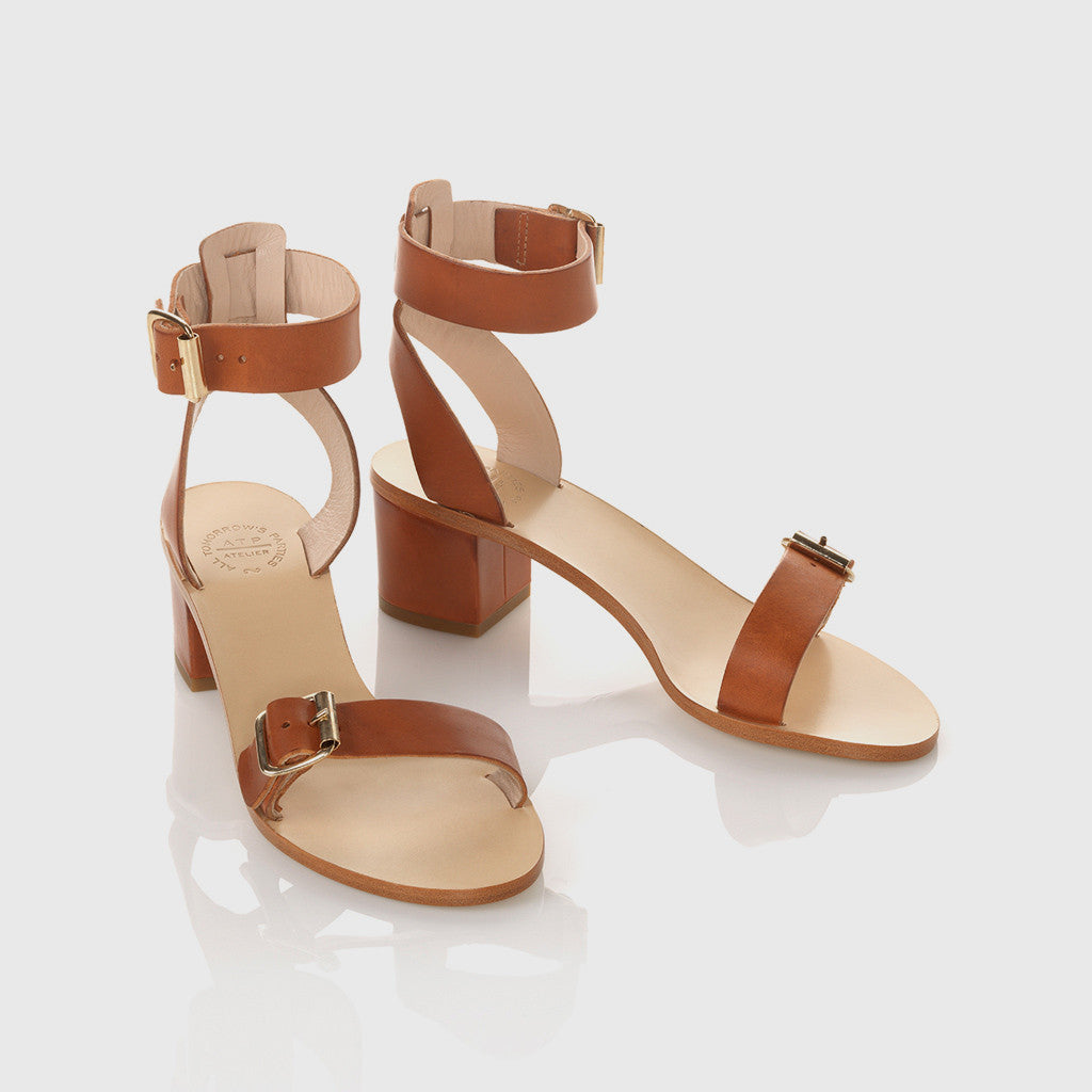 Carmen Low Heel Sandal - Dark Natural Leather