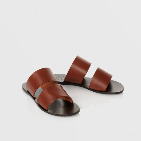 Liv Flat Sandal - Cognac - Final Sale