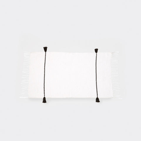 Bakkali Cord Bath Mat - White/Black