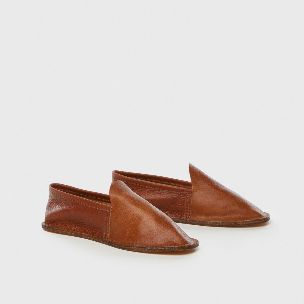 Leather House Slippers - Brown