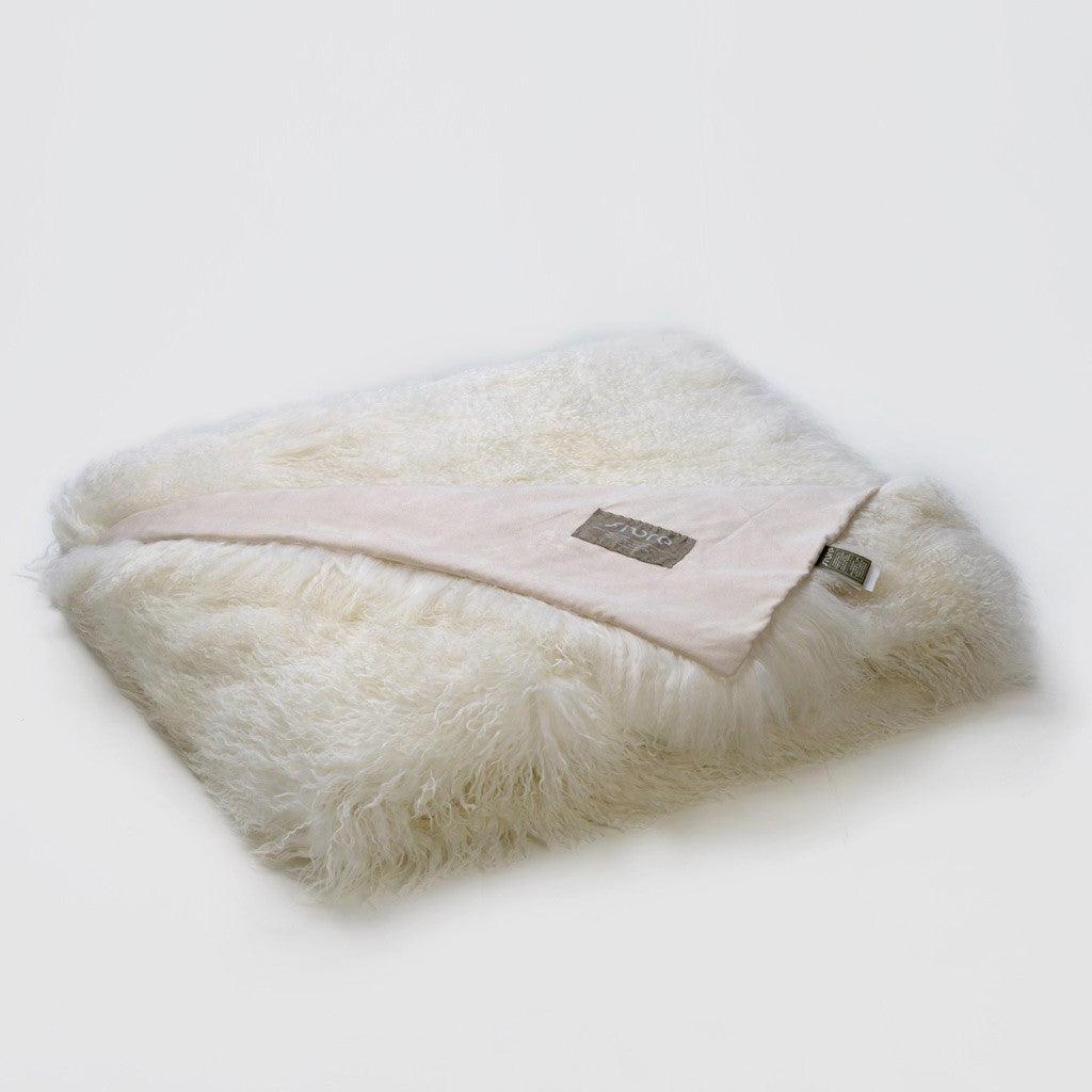 Tibetan Sheepskin Throw - Ivory