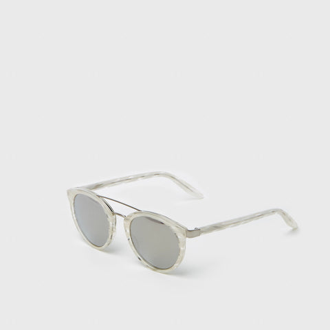 Dalziel Sunglasses - Crystal Ivory Pearl with Silver Mirror Lenses