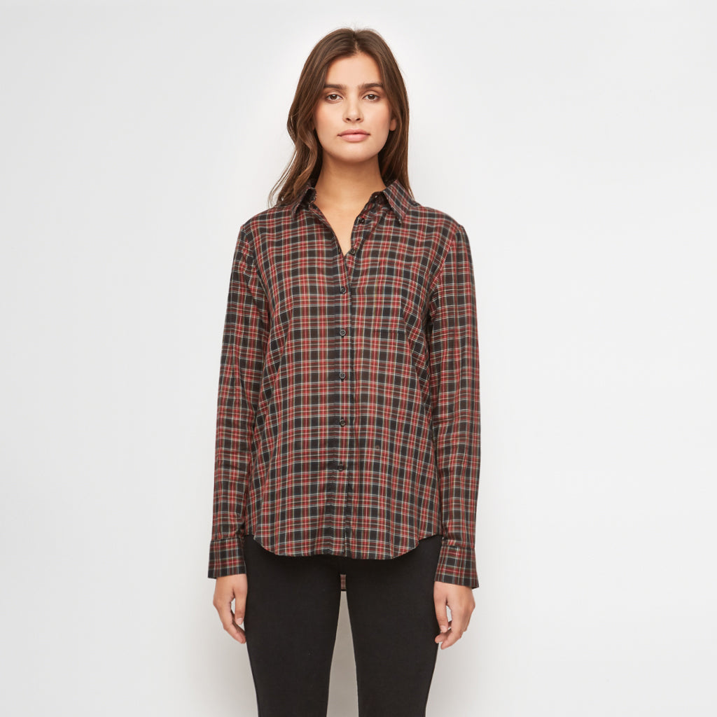 Plaid Boyfriend Shirt - Navy/Red