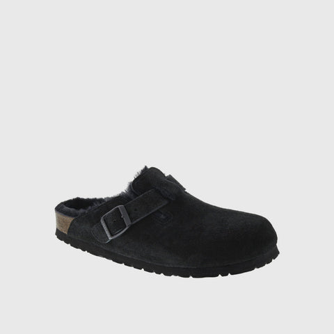 Boston Shearling Clog - Black Suede