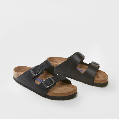 Arizona Oiled Leather Sandal - Black