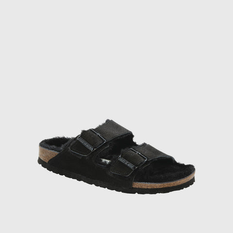Arizona Shearling Sandal - Black Suede