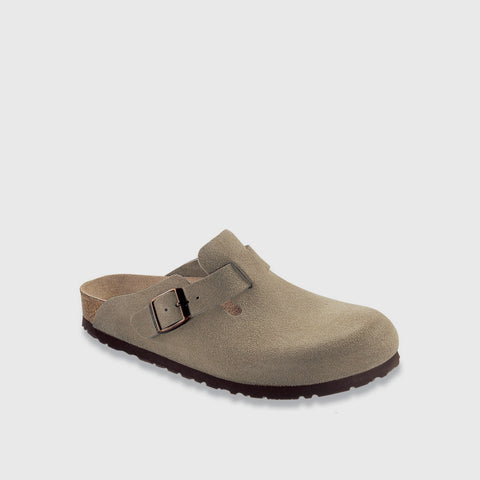 Boston Suede Leather Clog - Taupe