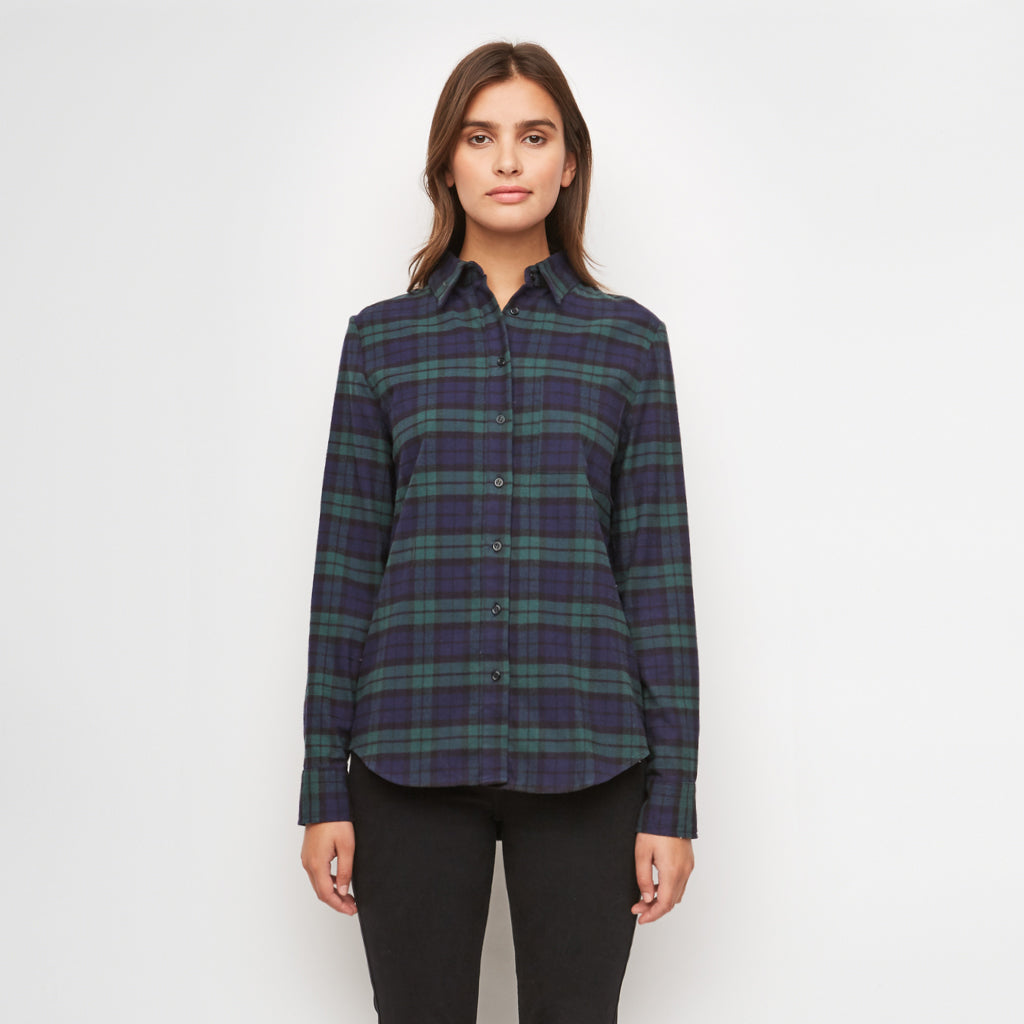 Plaid Flannel Boyfriend Shirt - Green/Navy