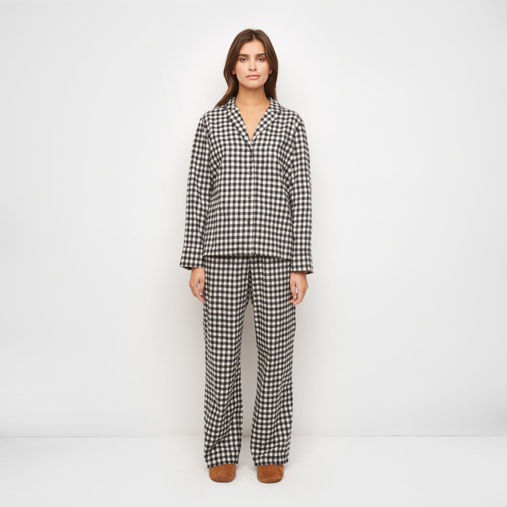 Buffalo Check Pajama Pant - Black/Ivory