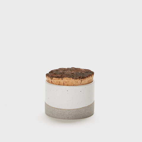 Wide Canister with Cork Top - Grey/Ivory