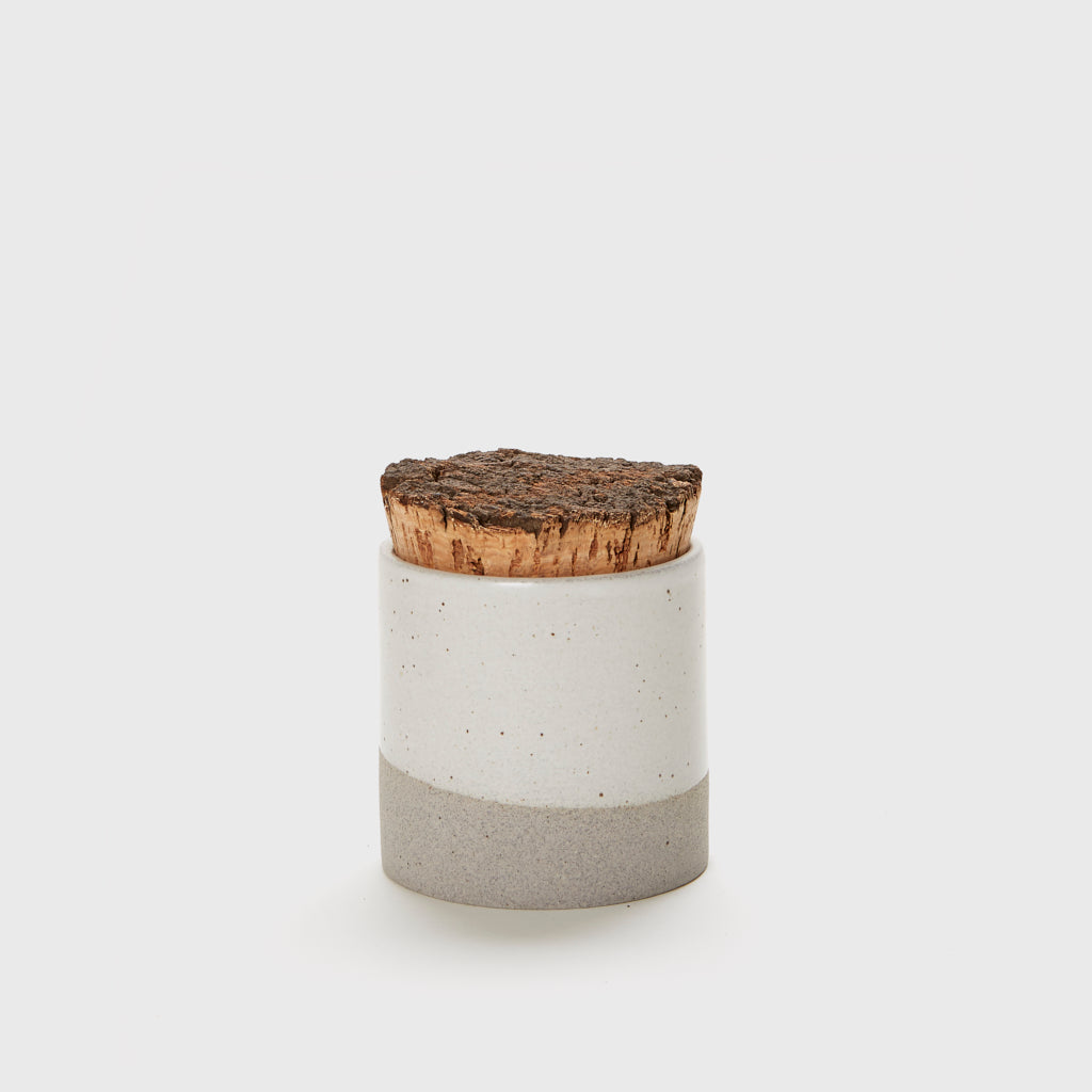 Large Canister with Cork Top - Grey/Ivory