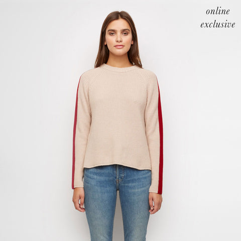 Cashmere Stripe Sleeve Fisherman Sweater - Nude/Red
