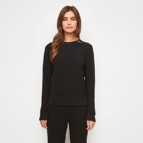 Cashmere Thermal Crewneck Top - Black