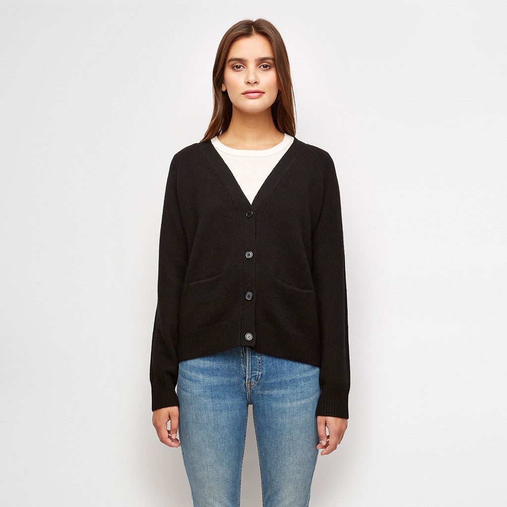 Cashmere V-Neck Cardigan - Black