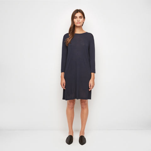 Cashmere Jersey 3/4 Sleeve T-Shirt Dress - Navy