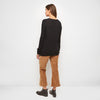 Cashmere Jersey Thermal Crewneck Top - Black