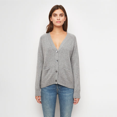 Stanford Cashmere Cardigan - Light Grey
