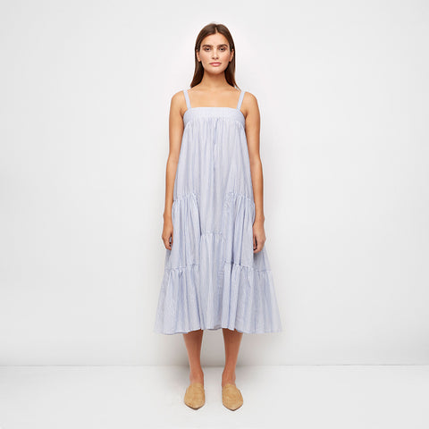 Striped Cotton Gathered Band Dress - Blue/White