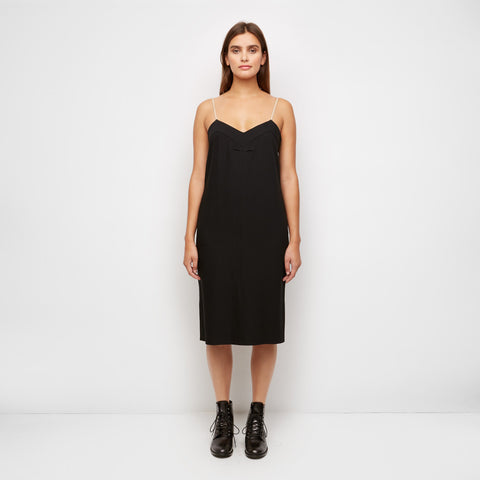 Crepe Cami Dress with Nude Strap - Black