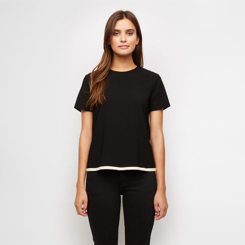 Crepe Tipped Tee - Black/Ivory