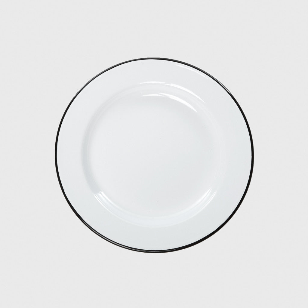 Enamel Dinner Plate - White/Black