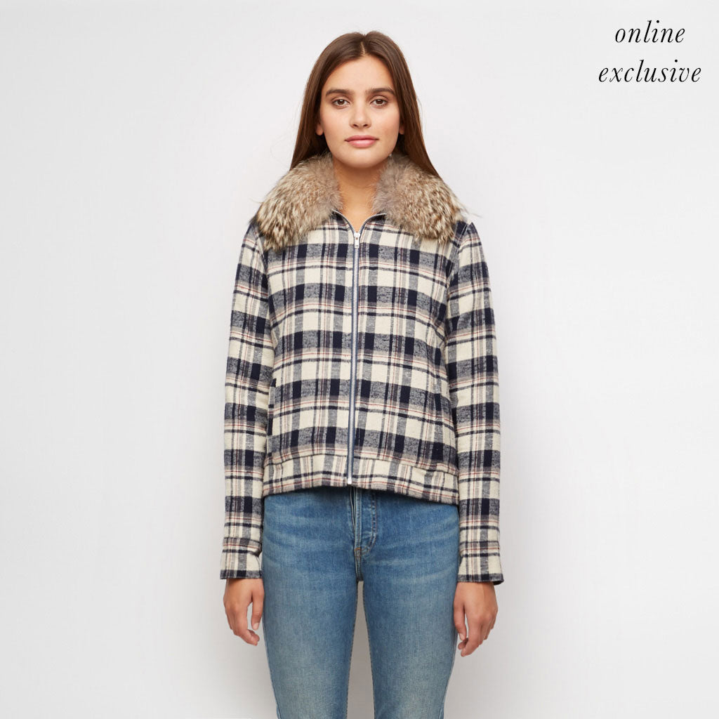 Plaid Flannel Jacket with Fur Trim - Navy/Ivory
