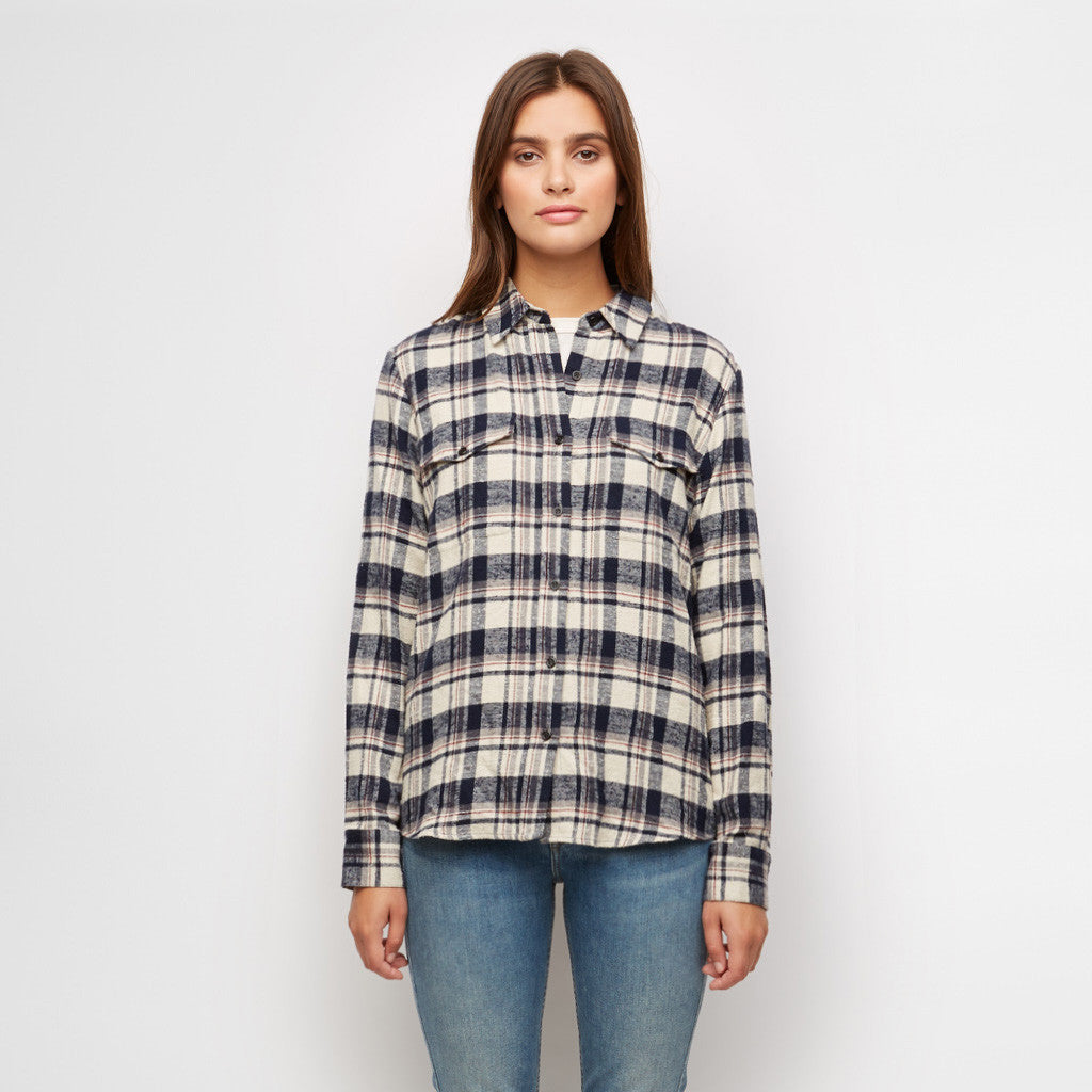 Plaid Flannel Work Shirt - Navy/Ivory