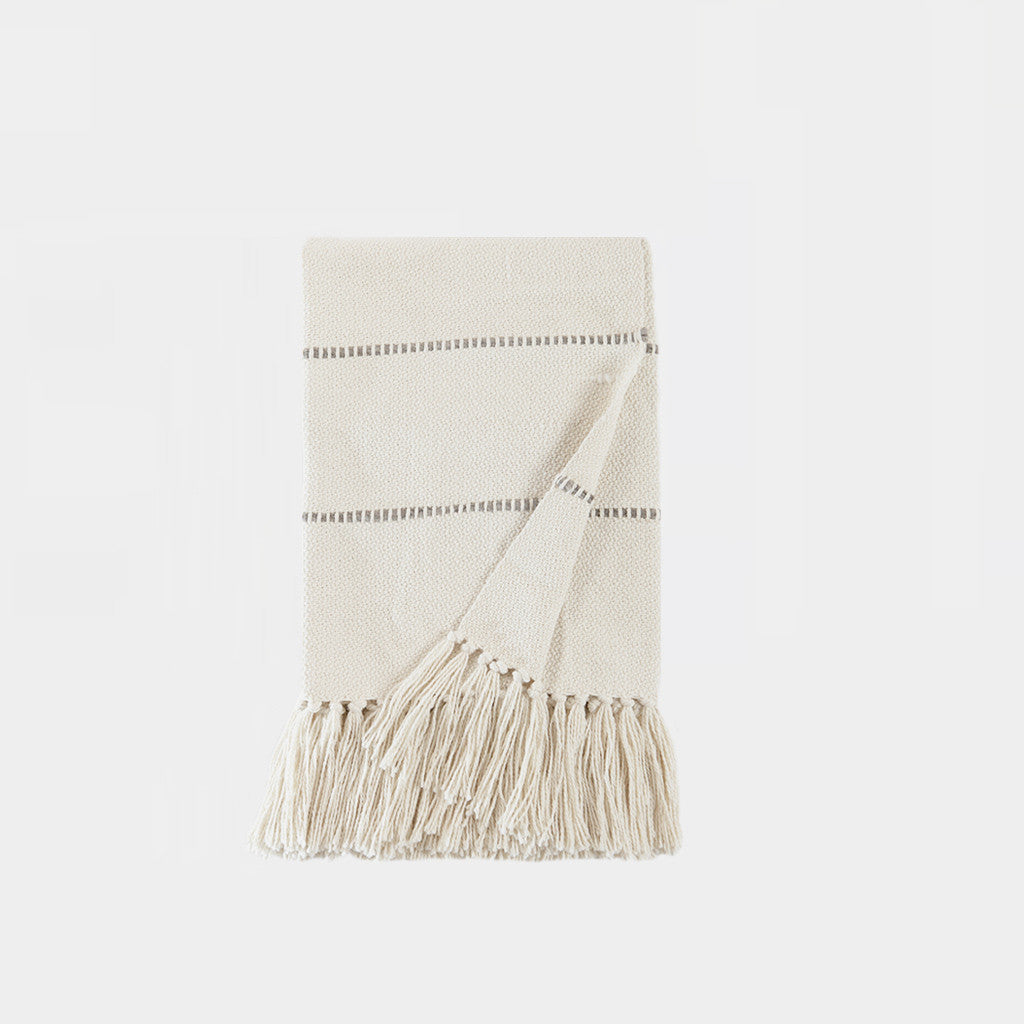 Multi Stripe Throw Blanket - Natural/Grey