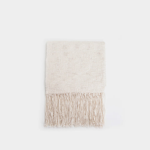 Rustic Cotton Textured Throw Blanket - Natural