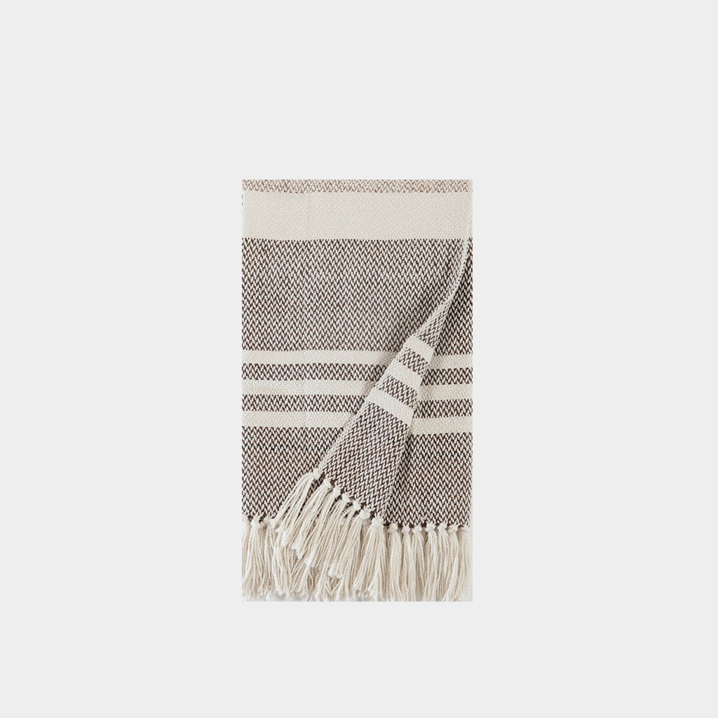 Striped Wool Throw Blanket - Natural/Chocolate